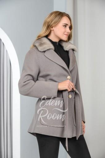 Пальто - пиджак  с мехом норки
