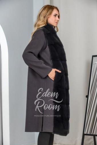 Пальто 3в1 с жилетом из меха норки