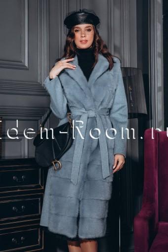 Эксклюзивное пальто из норки и шерсти
