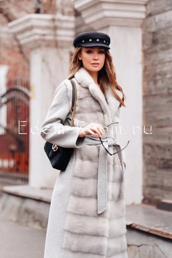 Элитное пальто из норки и шерсти