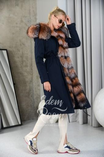 Синяя парка - пальто с мехом