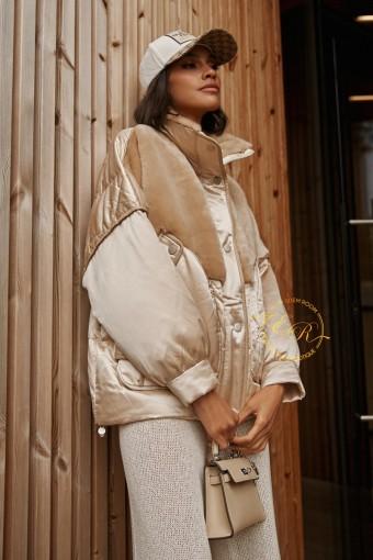 Куртка - пуховик комбинированный с шерстью