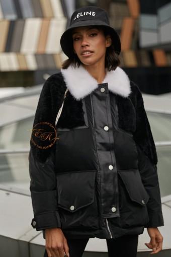 Пуховик -куртка с мехом овчины