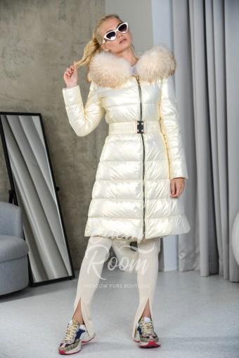 Белый пуховик - юбка под пояс