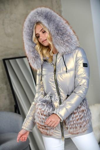 Пуховая куртка с меховыми карманами