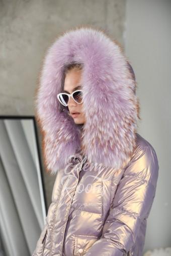 Молодежная куртка на пухе с мехом