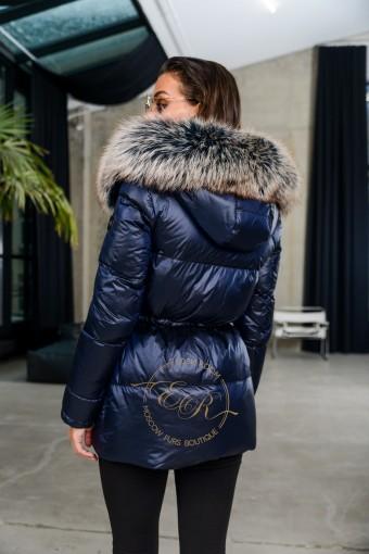 Лёгкая куртка пуховик с мехом