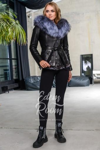 Утеплённая куртка из кожи с мехом