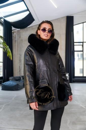 Кожаная куртка с карманами из меха норки