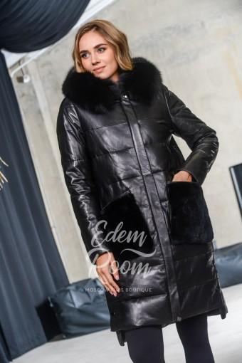 Зимнее кожаная пальто для женщин