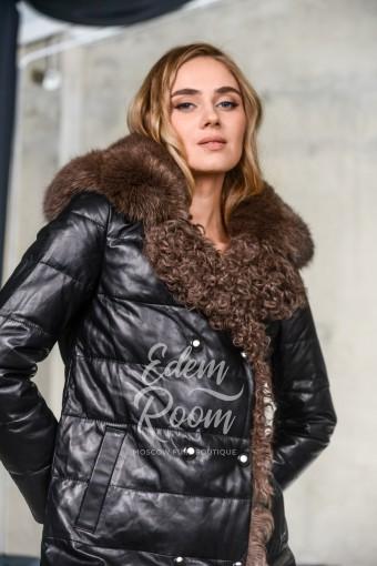 Утеплённое кожаная пальто для еврозимы