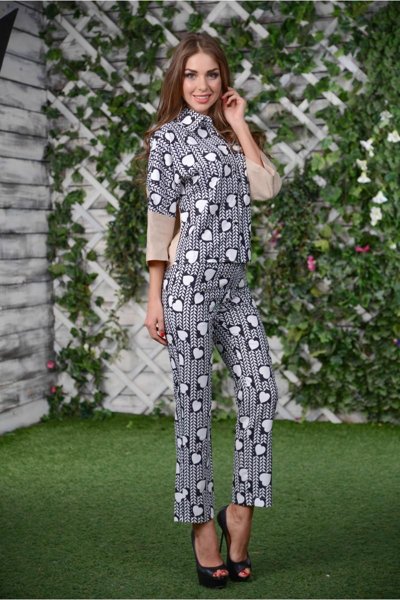 Шёлковый костюм блузка+брюки