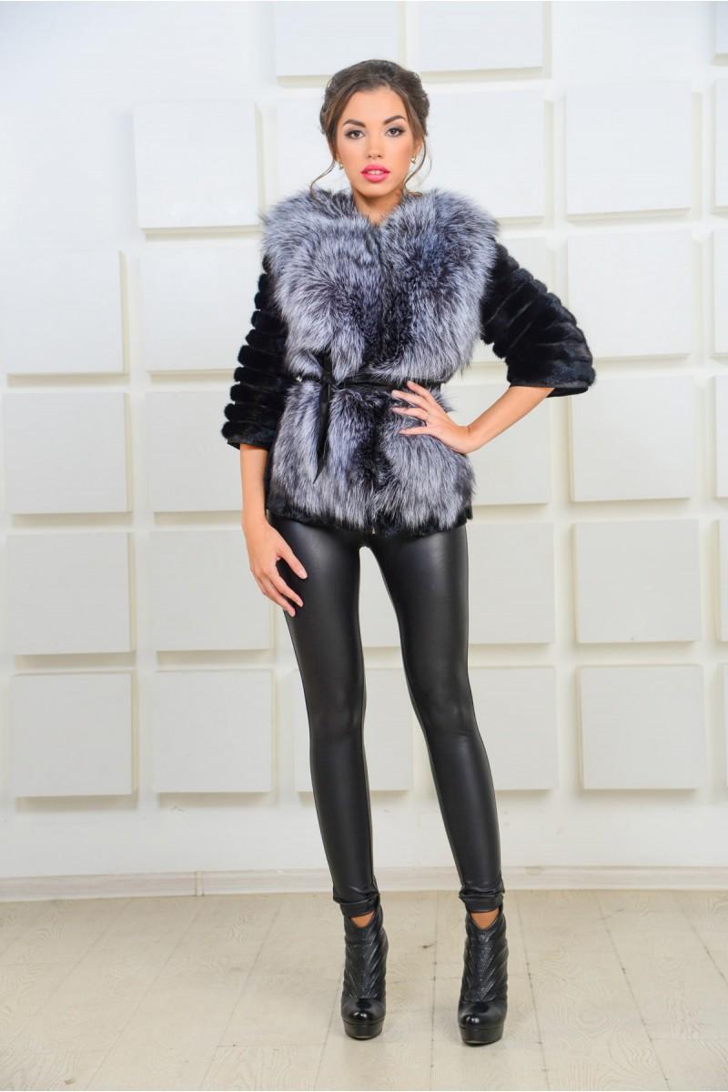 Молодёжная норковая куртка с чернобуркой