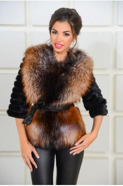 Шикарная норковая куртка комбинированная мехом лисы
