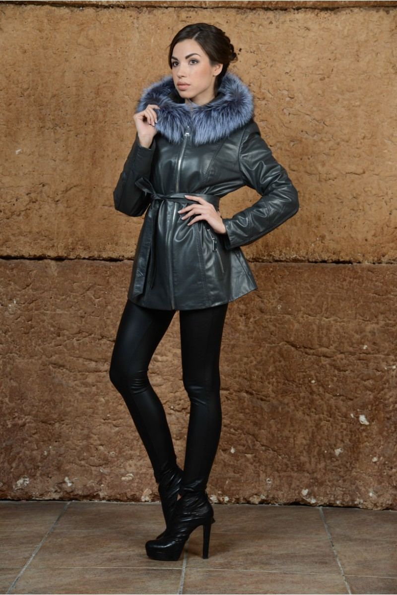 Удлинённая кожаная куртка с мехом