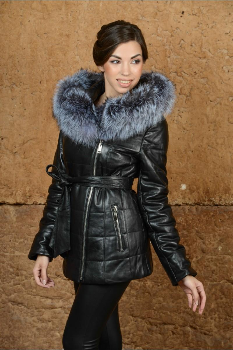 Утеплённая кожаная куртка с мехом чернобурки