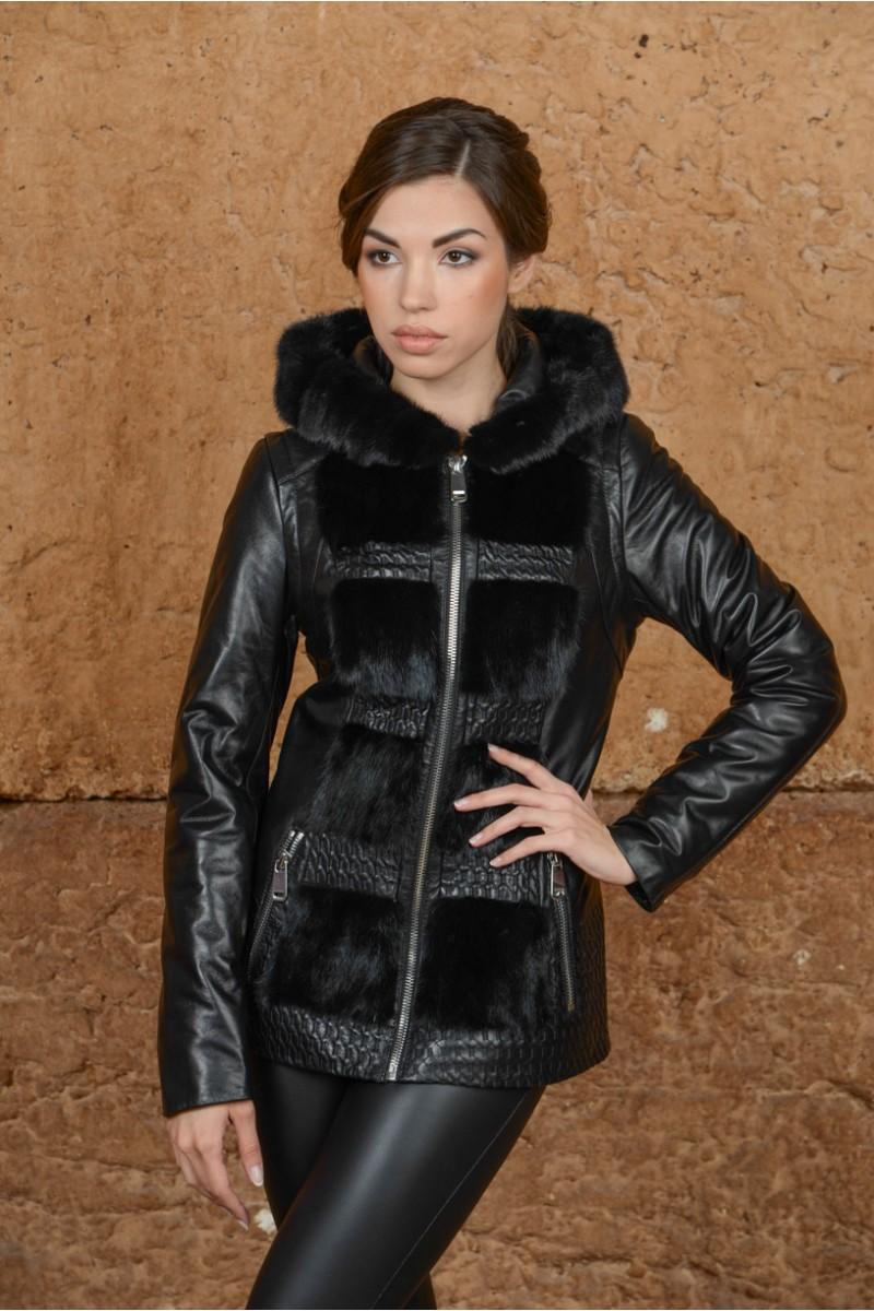 Современная куртка из кожи и меха норки