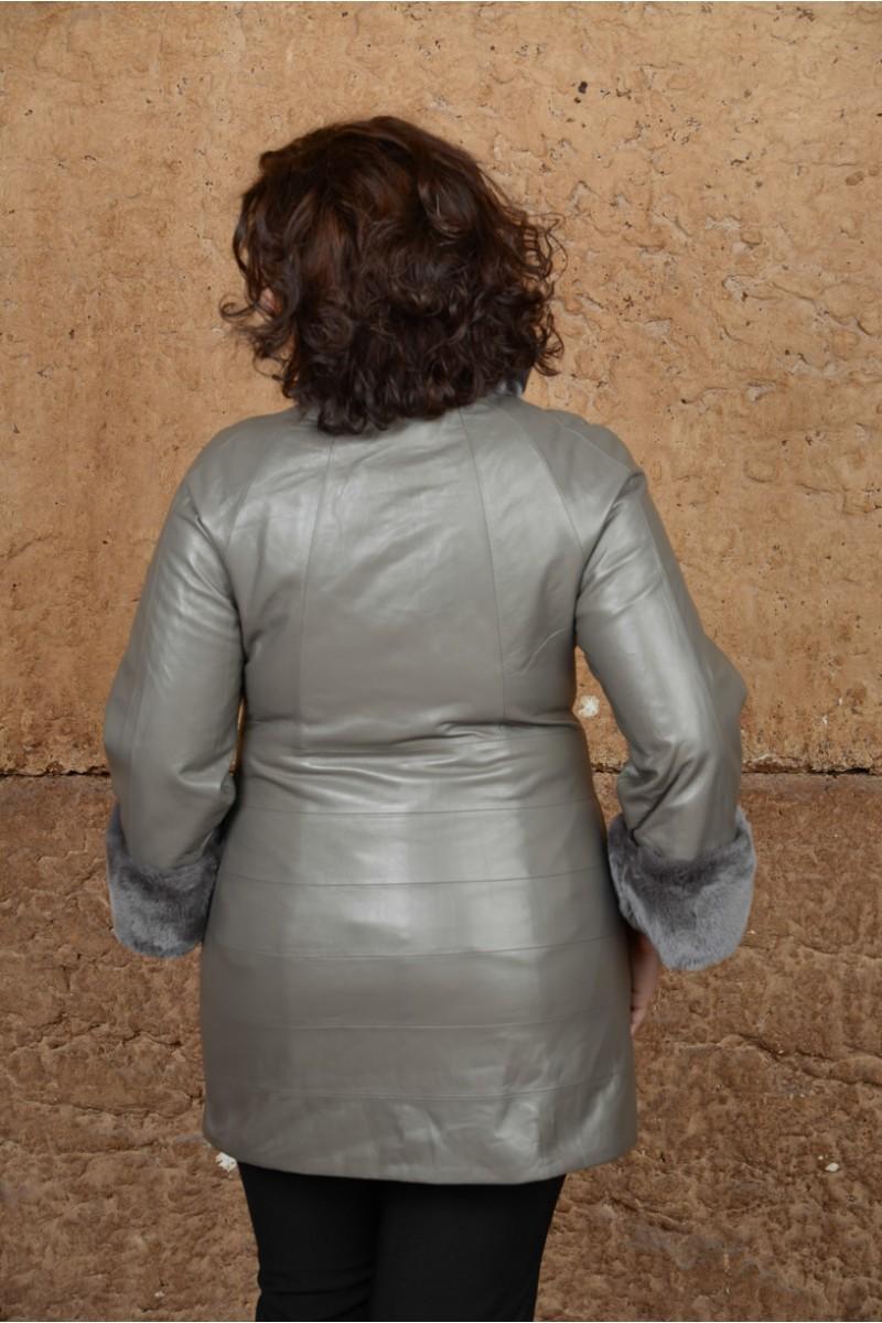 Современный кожаный плащ для больших размеров
