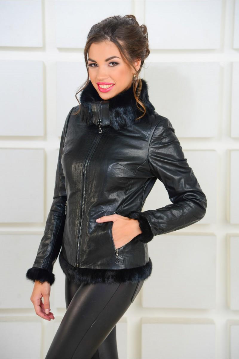 Кожаная куртка с мехом норки
