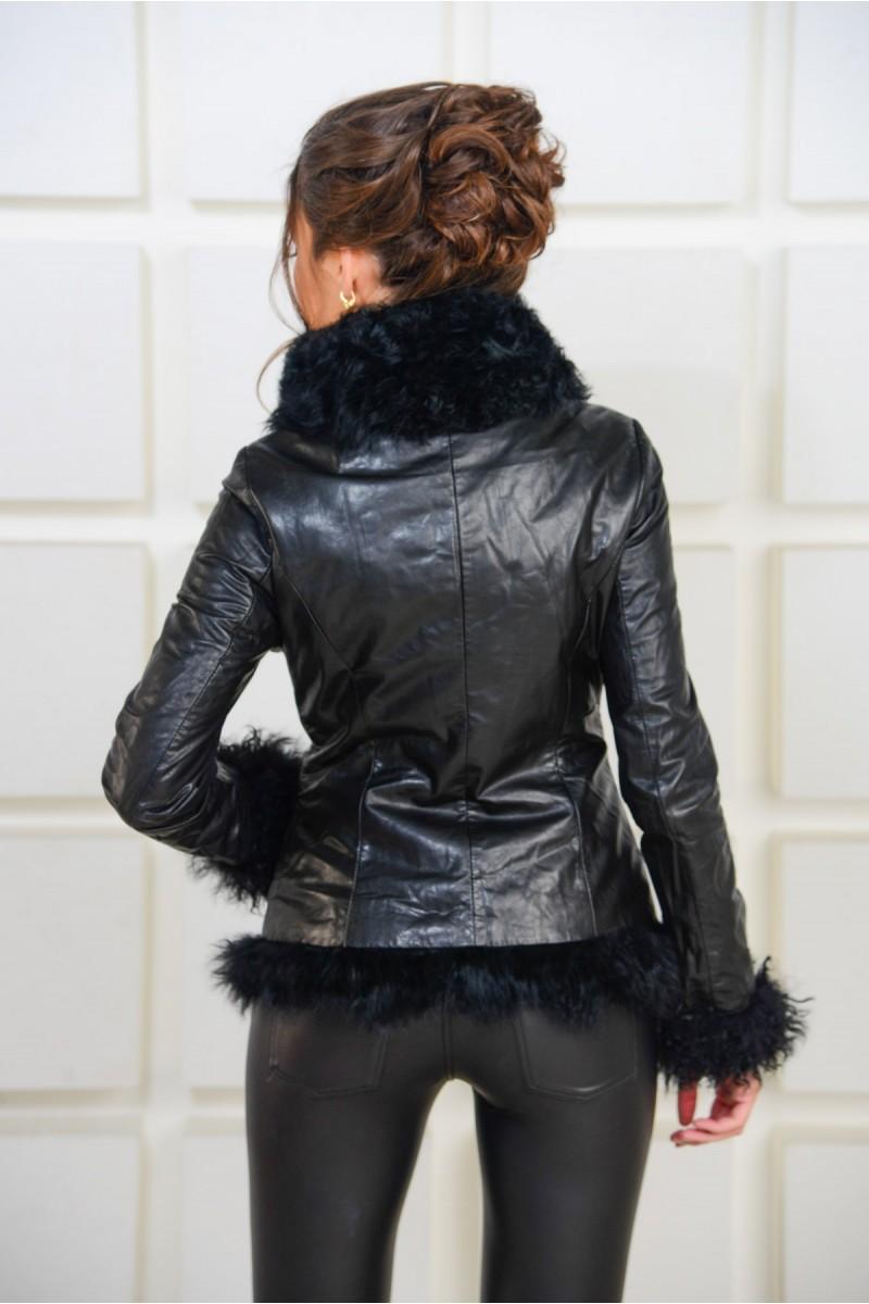 Кожаная куртка с мехом барашка