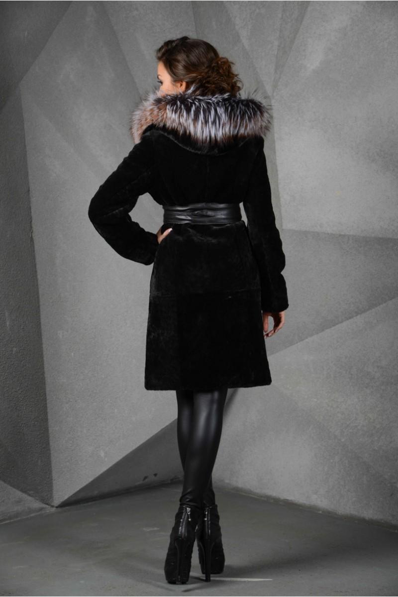 Чёрная Шуба из мутона с капюшоном из лисы