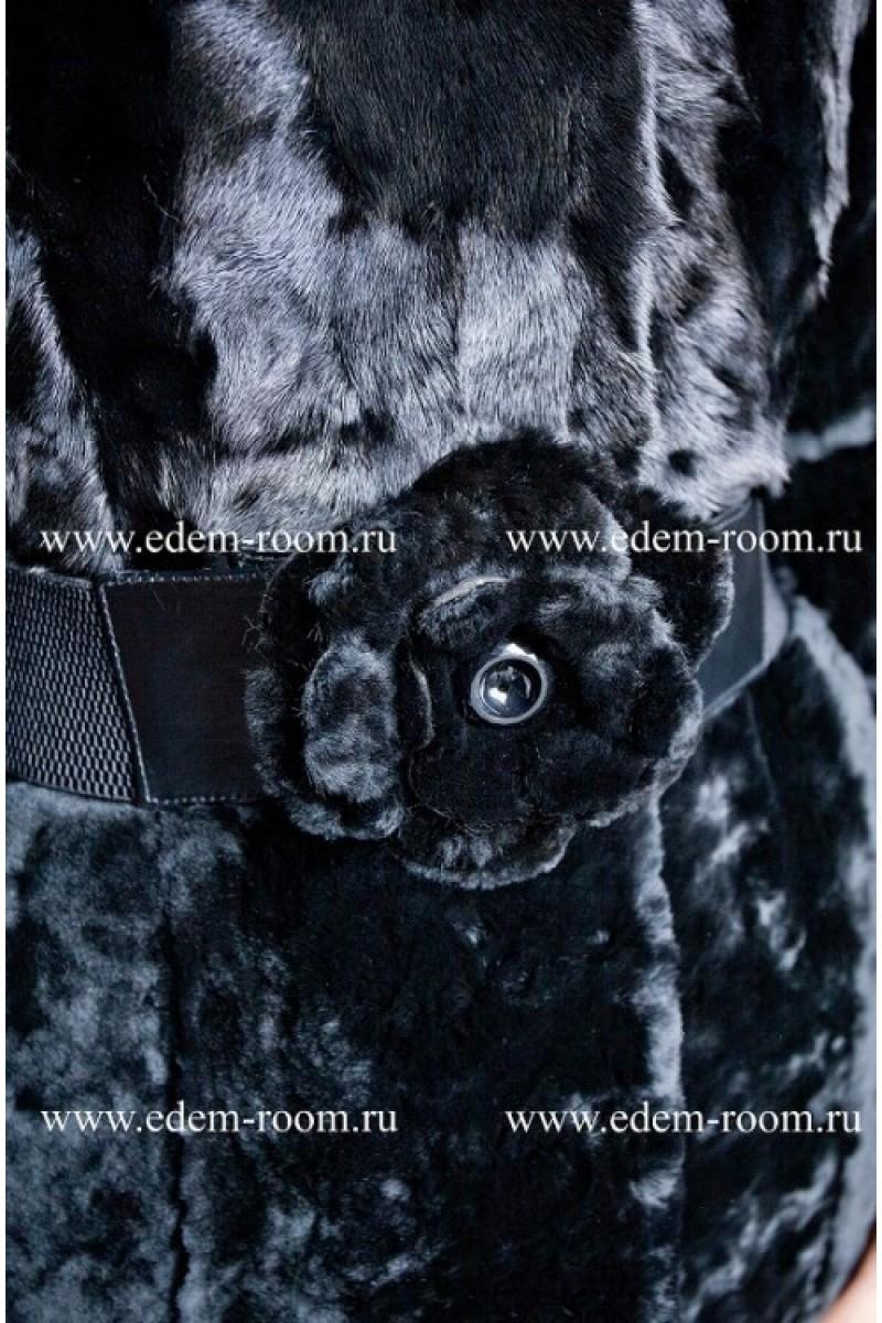 Шуба из мутона комбинированная мехом норки