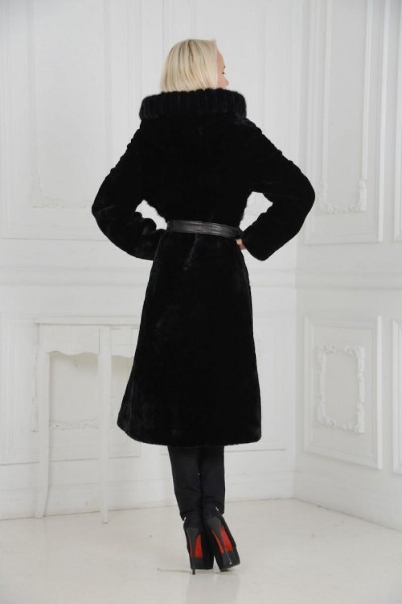 Элегантная чёрная Шуба из мутона
