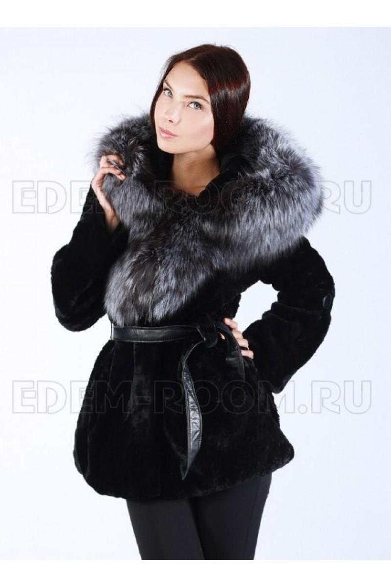 Женская Шуба из мутона с мехом чернобурки