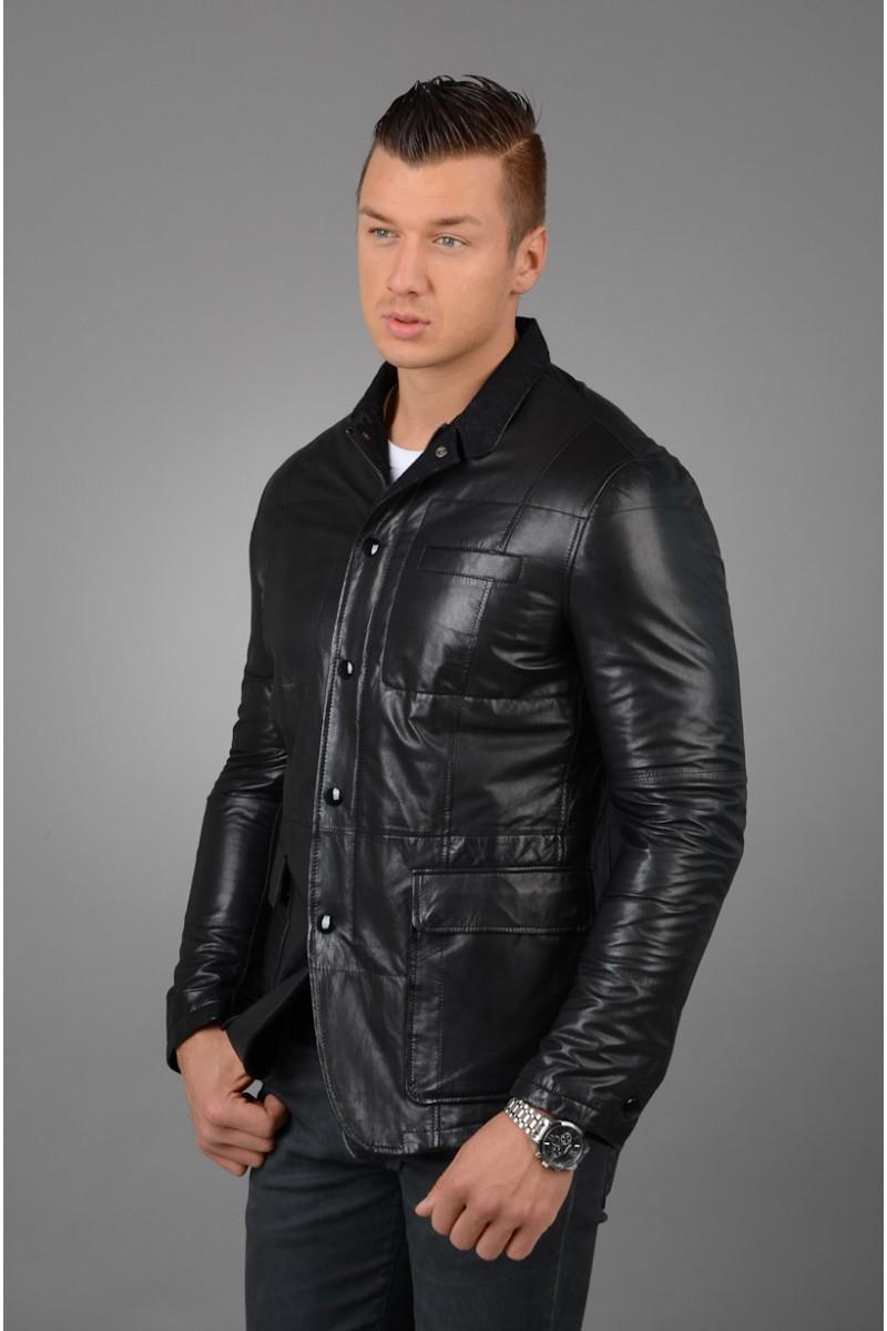 Стильная мужская кожаная куртка - пиджак.