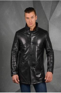 Мужская удлинённая кожаная куртка