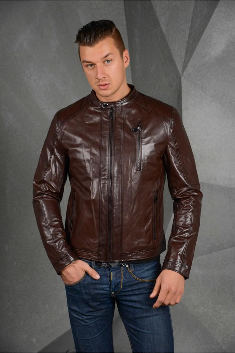 Коричневая кожаная куртка для мужчин