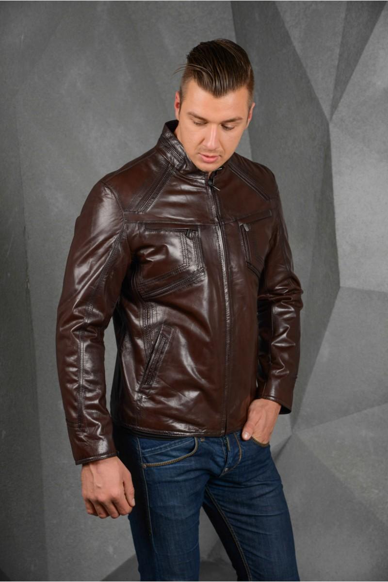 Тёмно- коричневая куртка из кожи