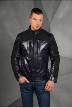 Тёмно -синяя  кожаная куртка