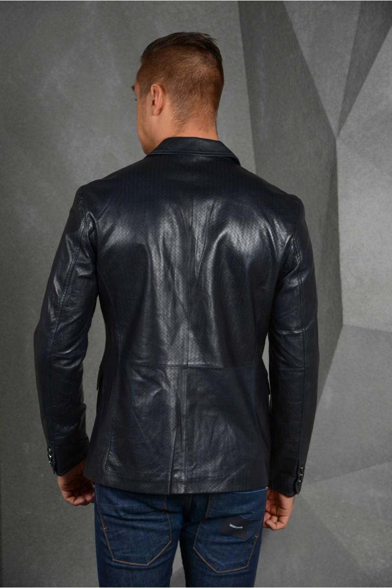 Тёмно -синий кожаный пиджак