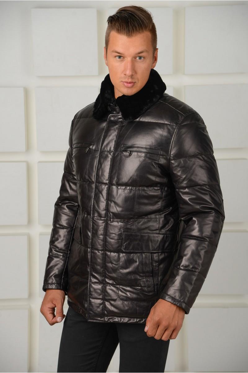 Зимний кожаный пуховик из натуральной кожи с мехом цигейки