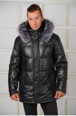 Зимний кожаный пуховик с капюшоном