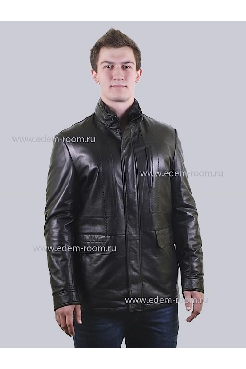 Мужская зимняя кожаная куртка