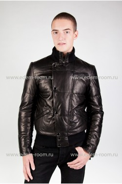 Зимний пуховик кожаный Milanmisi