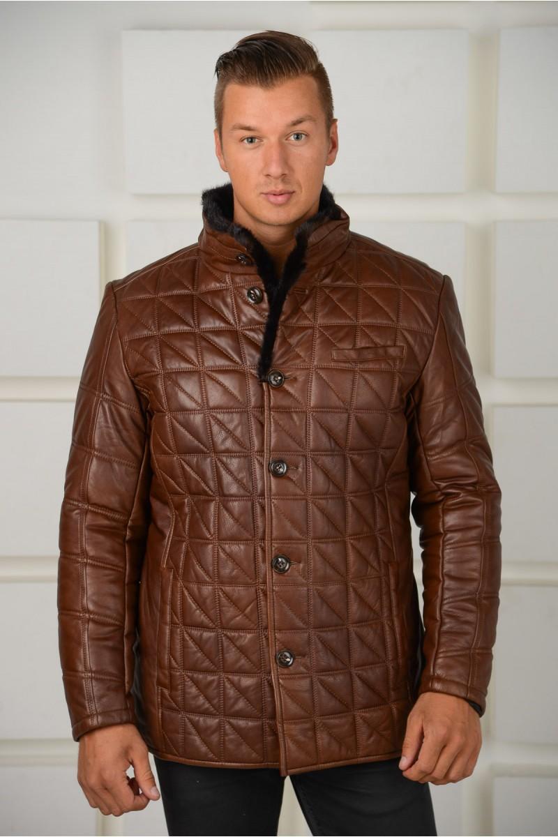 Модная зимняя куртка с мехом норки
