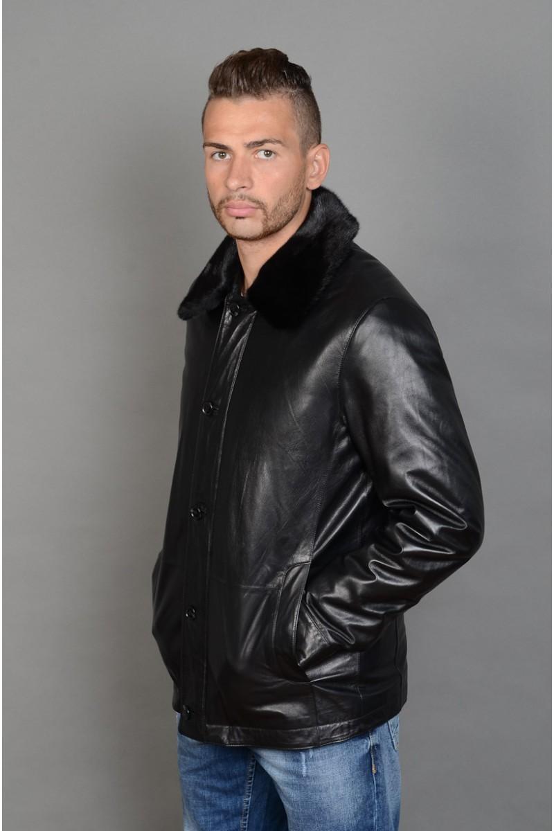 Мужская зимняя кожаная куртка.