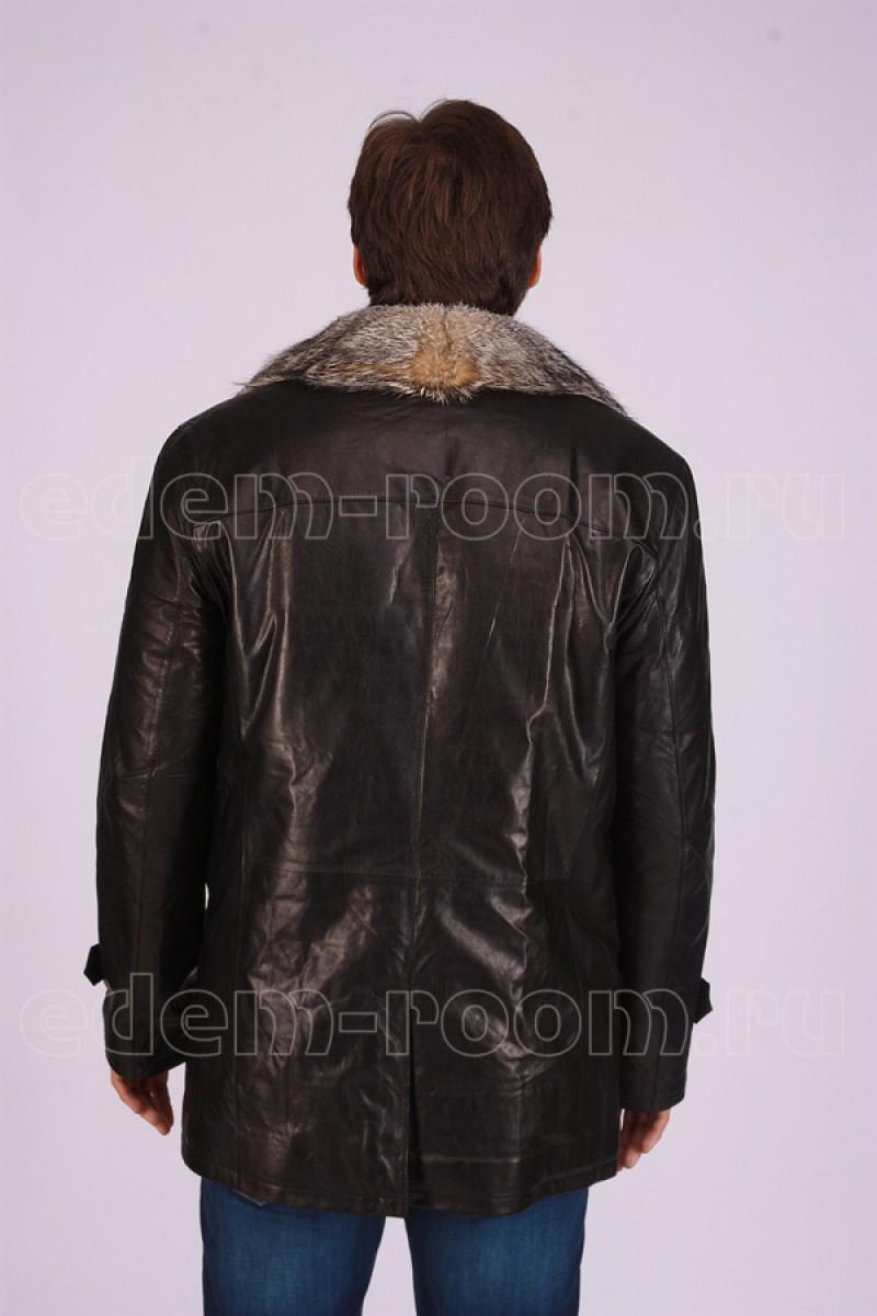 Куртка - дубленка с мехом волка.
