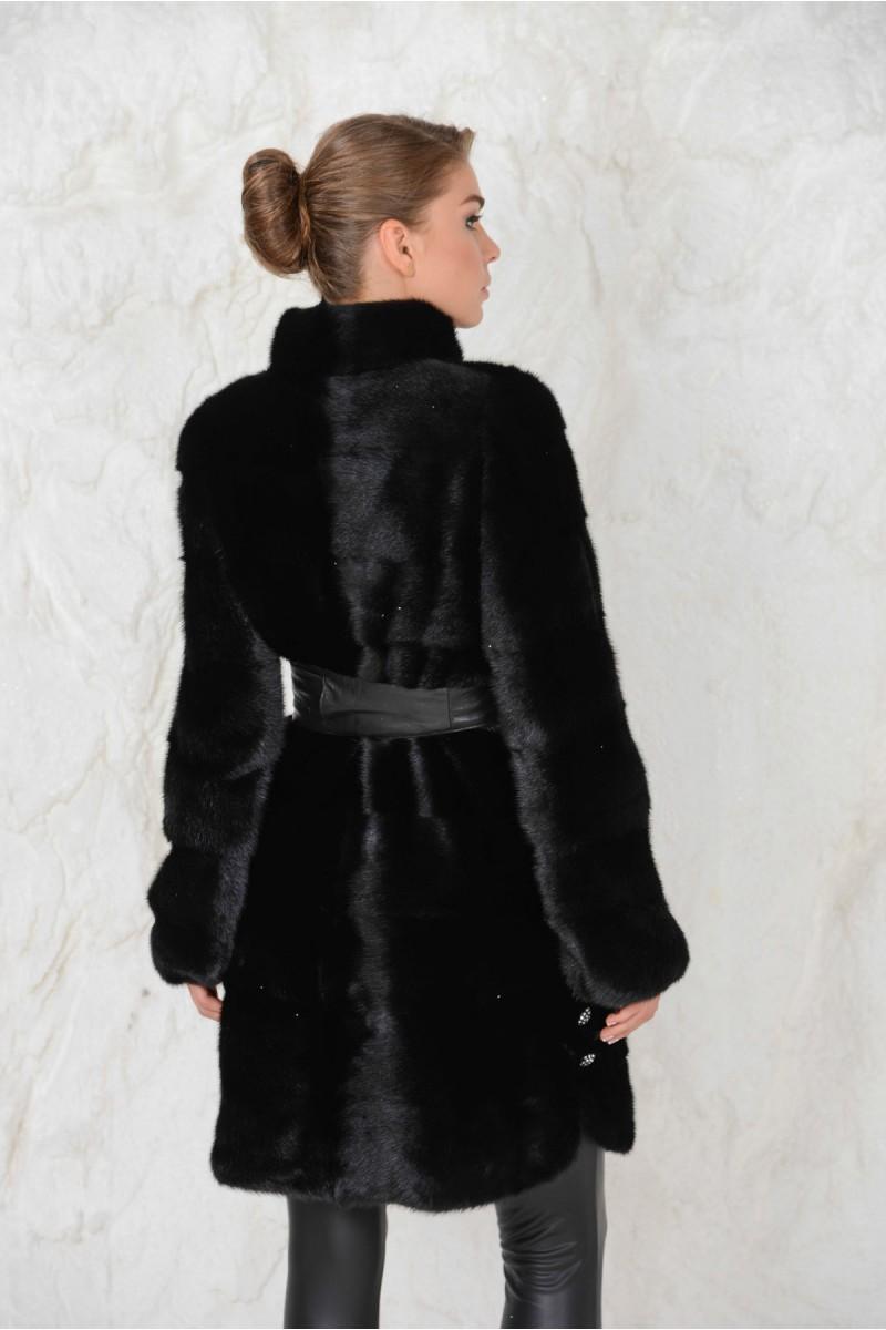 Шуба из Норки черного цвета
