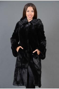 Черная длинная женская Шуба из Норки