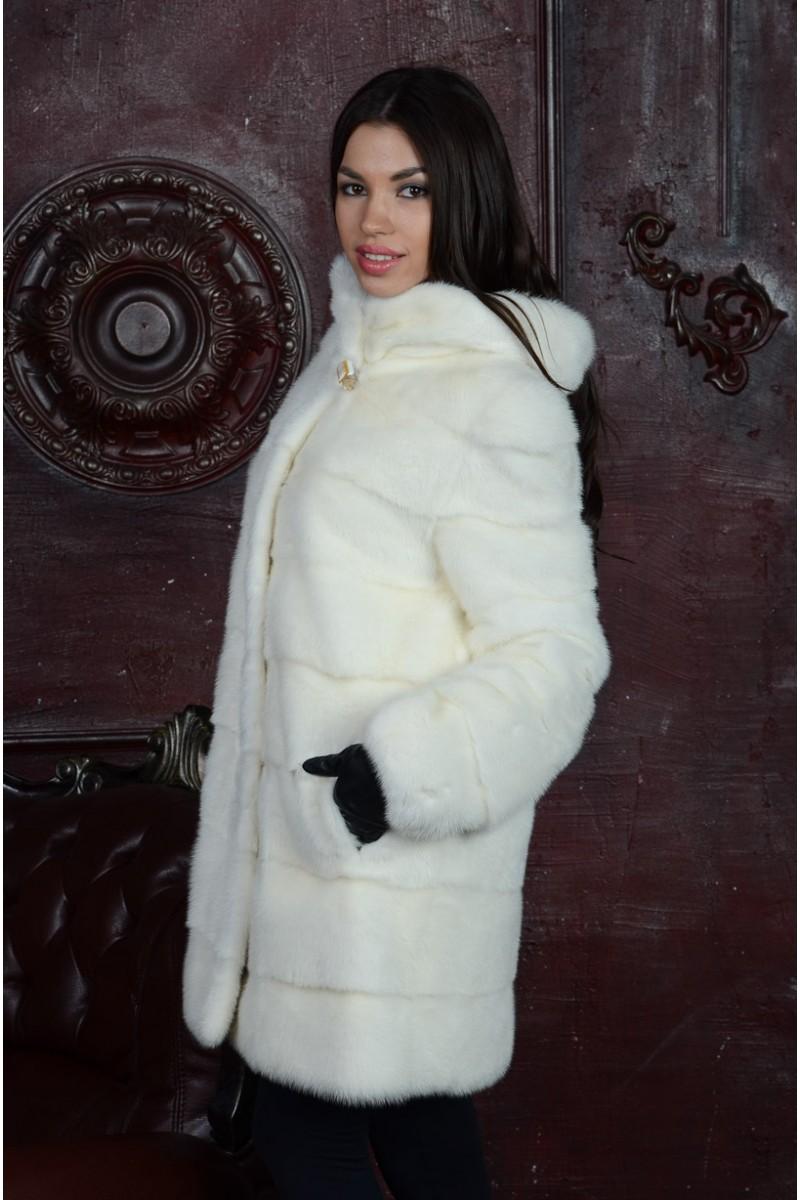 Белая Шуба из Норки (попречка) с капюшоном