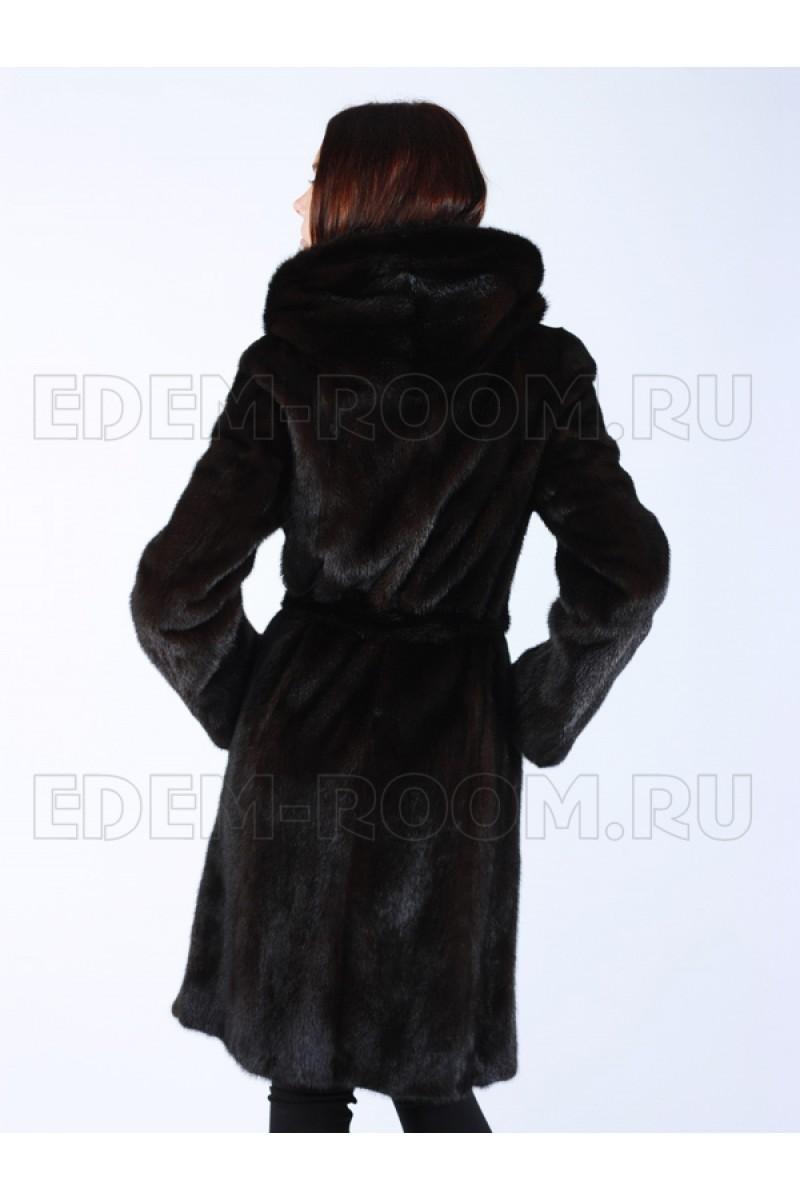Черная Женская Шуба из Норки с капюшоном. Размеры  40-52