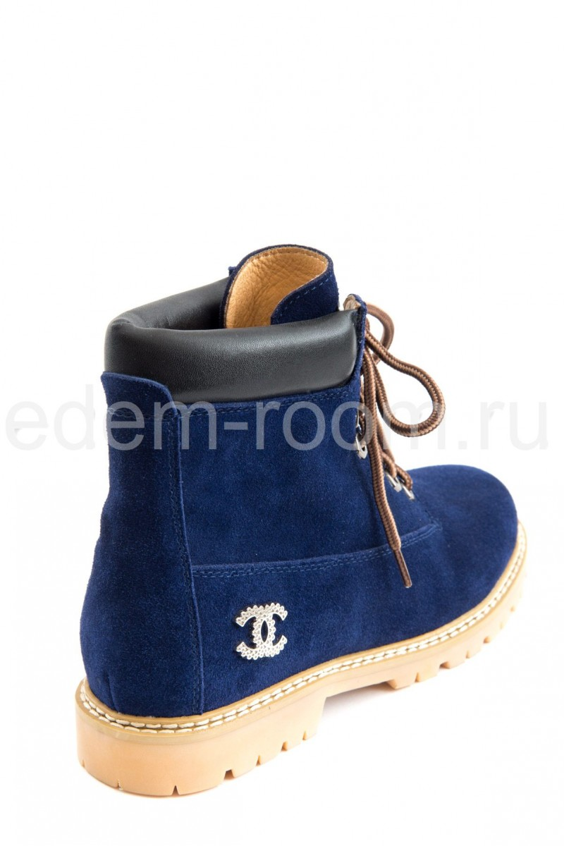 Синие ботинки на шнурках