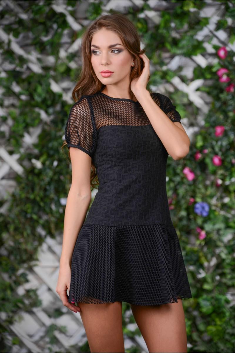 Чёрное стильное платье