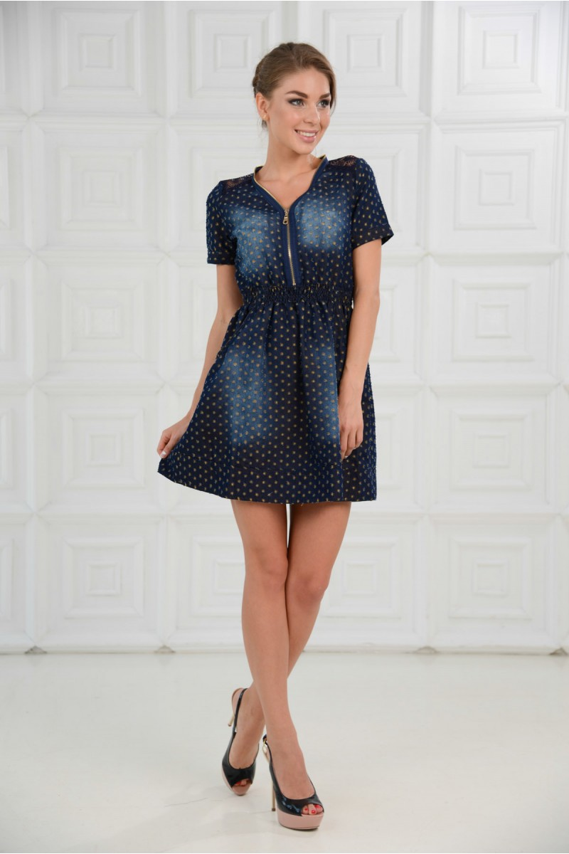 Перфорированное джинсовое платье