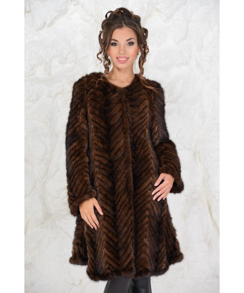 купить пальто из вязаной норки в интернет магазине