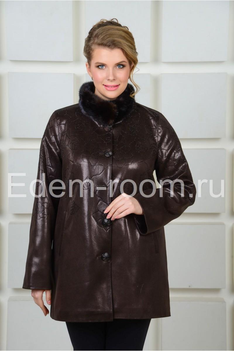 Коричневая куртка  для больших размеров